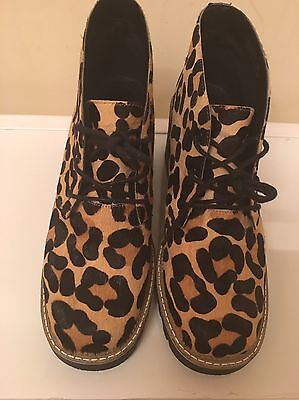 Topshop Real Leather Leopard Shoes Low Heels UK6 EU39