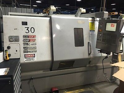 """2005 Haas SL-30M CNC Live Tool Turning Center Lathe 10"""" Chuck C Axis 30HP Used"""