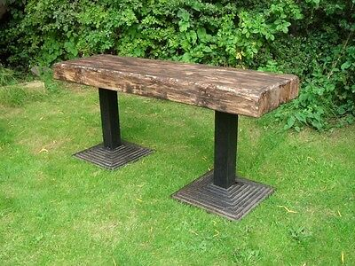 Heavy Duty Cast Iron and Natural Wood Park Bench