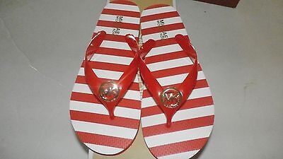 Michael Kors MK Flip Flop RED White Striped Print Rubber Thong Sandal Sz 8 NIB