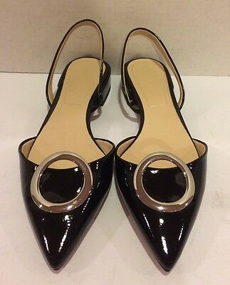Zara Woman Flats Ballets Sandals Slingbacks Pointy Toe Patent Black 37/ 6.5