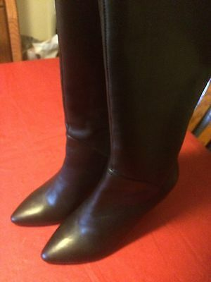 Women's Size 11 Wide Calf Black Leather Boots