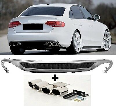 Für Audi A4 B8 8K RS4 S-Line S4 Look Heckstoßstane Spoiler Diffusor Endrohre -61