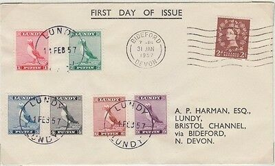 Lundy 1957 Standing Puffin Definitives 6 Cpl On First Day Cover Excellent Cond