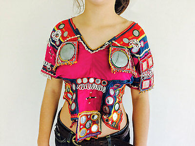 Vintage Banjara Choli Blouse Square Mirror Work and Embroidery Beading Tribal
