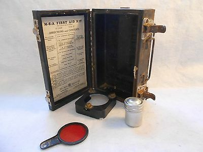 Vintage Mine Safety First Aid Kit  M-S-A Metal Box w/ 3 items 10 Unit Type D