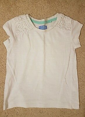 Girls Next Tshirt White with Lace Detail Age 3