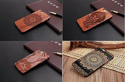 Hybrid Natural Carved Wood Wooden Bamboo Hard PC Case Cover ALL IPHONE MODELS