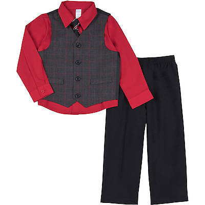 NWT George Boy's 4T 4pc Suit Outfit Set Red Christmas Special Occasion