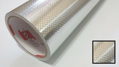 Silver Carbon Fiber Vinyl 24'' by 10yd Metallic Graphics Decal Sticker Film Roll