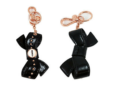Mimco black rose gold leather peek a bow key ring