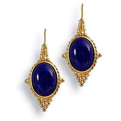 """Egyptian Revival Earrings with Lapis 22 Karat Gold Plated 1-1/2"""" Long"""