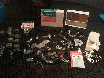 large lot of 50+ old sewing machine attachments and accessories SINGER, GREIST