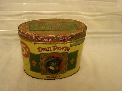 """Don Porto Cigar Tin 5 Cent 50 Count 1St Dist. Pa. Factory 103 Oval 5-1/2"""" Nice G"""