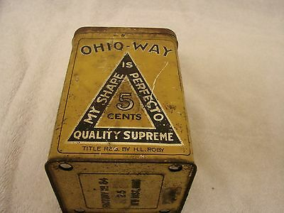 """Ohio - Way Cigar Tin 25 Count Factory 84 11 Th Dist. Ohio . H.l. Roby 5-1/2"""" Tal"""