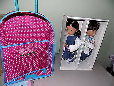 DISCONTINUED American Girl Bitty Twins BROWN Eyes BROWN HAIR, BOY & GIRL w/Book