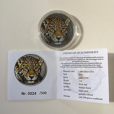 2013 Cameroon Leopard African Big Five 1 oz silver coin with COA # 24 of 500