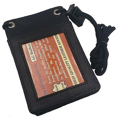 Leather Neck Lanyard ID Badge Holder Pouch Mini Cross Body Cell holder Black 068