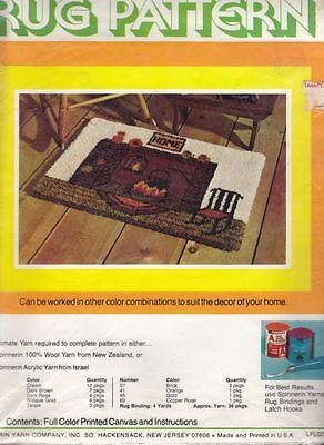 """Latch Hook Printed Rug Canvas ~ Fireplace ~ 24"""" x 34"""" ~ Spinnerin ~ Vintage"""