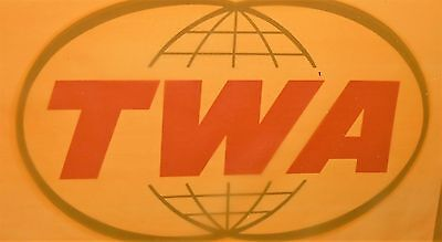 1950 Twa Airlines Large Big Double Globes Bumper Sticker Luggage Bag Tag Label