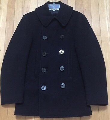 Vintage US Navy 10 Button WWII Pea Coat Black Wool Small 34R Corduroy Pockets