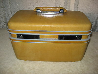 Vintage Samsonite Profile Yellow Train Case Cosmetic Make Up w/ Mirror, Tray