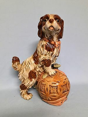 "Vtg Staffordshire Chinese Foo Dog Style 11+"" Cocker Spaniel Figurine Asian Puppy"