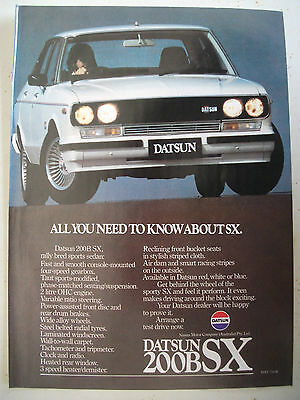 Datsun 200B Sx Magazine Fullpage Colour Advertisement