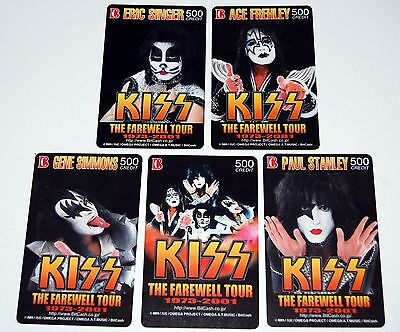KISS 2001 Japan Farewell Tour 5pc Bitcash Card Set Unused Gene Ace Eric Paul
