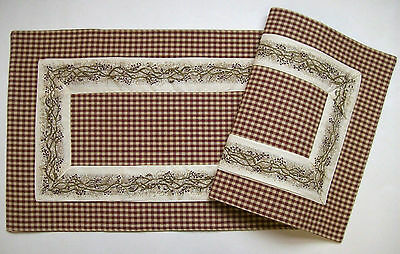 "Country Primitive BERRY VINE Burgundy & Tan Check 54"" Cotton Table Runner"