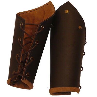 Brown Leather Vambraces / Bracers Perfect Item For Costume LARP or Re-enactment
