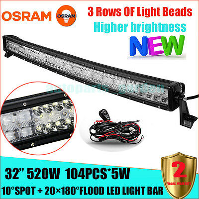 "520W 32"" FLOOD SPOT CURVED LED Work Light Bar Offroad Pickup FORD SUV JEEP"