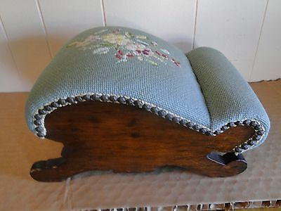 Antique Needlepoint Foot Goult Stool