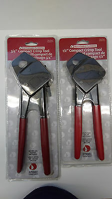 "Two New 1/2"" & 3/4"" Dependable Plumbing Compact Crimp Crimper Tool Pex W-Gauges"