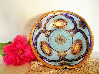 Antique Noritake Dish Heavily Gilded Moriage Blue Gold Enamel Flowers 3 Footed