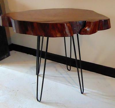 20th Century Modern wood and iron hairpin leg table. Table wood top i... Lot 227