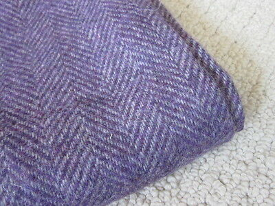 Vintage Purple Grey Herringbone Wool Fabric 56x40 Rugs Craft