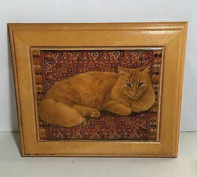 Lacquered Wooden-Wood CAT/KITTY Picture/Plaque Georgina's Country Creations/Cali