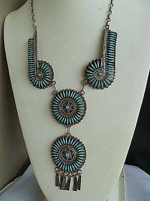 Vintage Exceptional Quality Sterling Silver Turquoise  Squash Blossom Necklace