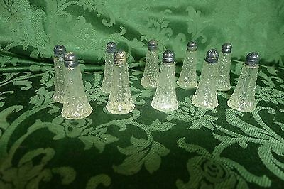 10 Vintage Cut Glass Salt & Pepper Shakers w Sterling Silver Tops Made in USA