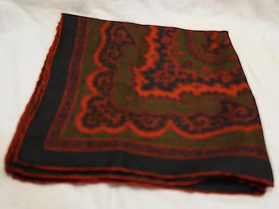 Vintage DAMON All Silk Scarf Kerchief Hand Rolled Red Black Made in ITALY