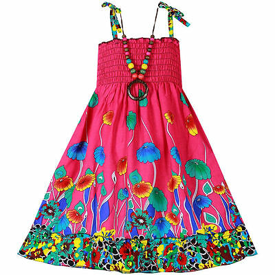 NWTGirls Dress+Necklace  Floral Party Bohemia Beach Baby Kids Clothes SZ 4T