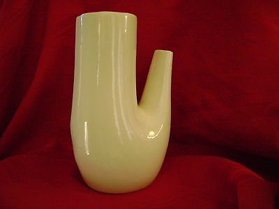 vtg ABSTRACT flower VASE cream rustic deco primitive modern ART POTTERY 8 ""