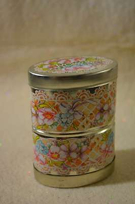Lillian Vernon Tin-Opens Both Ends -Roses & Lavender-Made In England