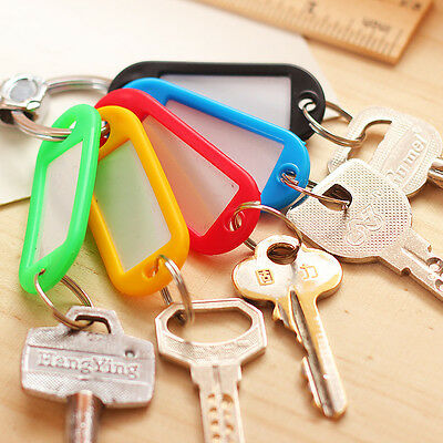 30Pc Plastic Key Rings Fobs ID Tags Name Cards Labels Luggage Travel