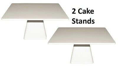 2 x WHITE Melamine Cake Stands Square Stand Candy Buffet Dessert Table 30x30cm