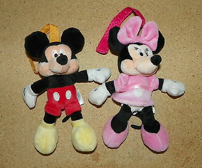 """Set of 2 Disney Baby Minnie & Mickey Mouse Soft Plush Toys Rattles 8"""" Hang Loop"""