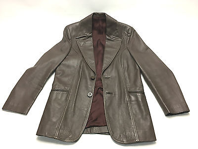 Vintage Brown Vinyl Persian Nappa Jacket Size 36 Retro 1970s Button and Collar