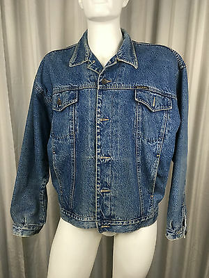 Vintage Denim Jacket Size XL Retro 90s Button and Collar Flannel Lined Stressed