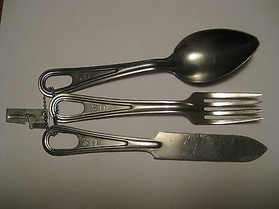 US Army Mess Utensils - Knife - Spoon - Fork